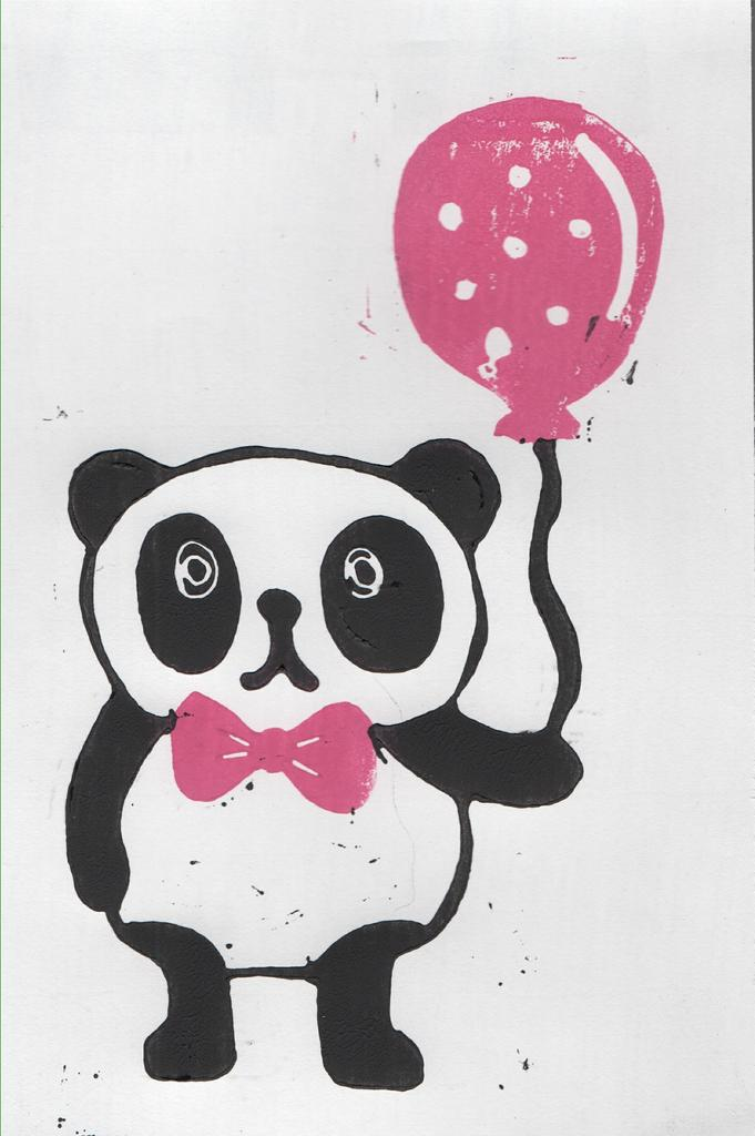 Panda with balloon